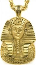 King Tut Mask Pendant with Chain 24 K Goldplate Egyptian necklace Multilana USA