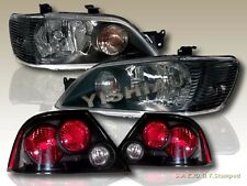 2002 2003 MITSUBISHI LANCER ES/LS BLACK HEADLIGHTS + BLACK ALTEZZA TAIL LIGHTS