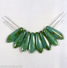 10 perles dagger larmes de joie à 2 trous turquoise picasso 5/16 mm