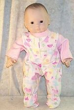 """Doll Clothes Baby Made 2 Fit American Girl 15"""" Pajamas Hippo Turtle Pink"""
