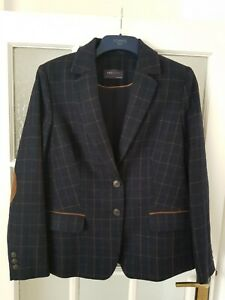 M&S COLLECTION  Wool Blend Checked Hacking Jacket with Arm Patches Size 14