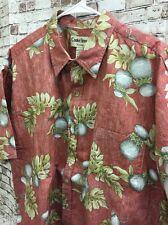 Cooke Street Tropical Hawaiian Men's Shirt 2XL Red Reverse Fade Drums Palm Tree