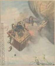 K0123 Pallone aerostatico prende fuoco urtando cavi elettrici - Stampa 1931