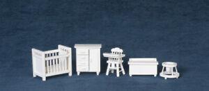Dollhouse Miniature - 1:24 Scale -T0226 - 1:24 Nursery Furniture Set - White