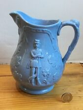 More details for rare military antique 1860 royal volunteer blue pottery jug 19th c staffordshire