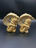 Vintage Ceramic Cherub Angels Sleeping Sitting Metallic Gold 6 inches Figurines