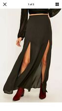 Urban Outfitters Black Holiday Dressy Long Godet Split Maxi Skirt Small Size 2