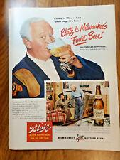 1949 Blatz Beer Ad Radio Stage Star Charles Winninger 1949 Shell Oil Gas Ad