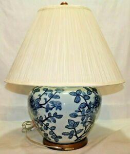 Ralph Lauren White & Blue Floral Porcelain Large Table Lamp & Shade New