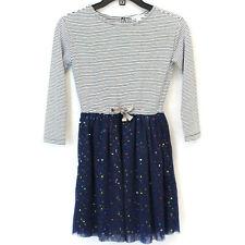 J.Crew Crewcuts Girls Mixy Striped Top Tulle Skirt Rainbow Sequin Dress Size 8
