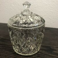 Vintage Pressed Glass Clear Covered Preserve Or Jelly Dish Pineapple Design 10oz