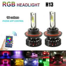 2x 9008 H13 72W RGB LED Headlight High Low Dual Beam APP Control Color Changing