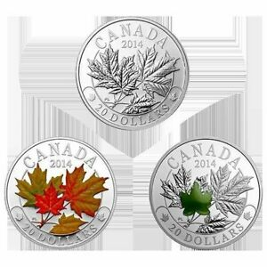 Majestic Maple Leaves - 2014 Canada $20 Fine Silver 3-Coin Set