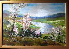 W.H.UNGER >Der Rhein im Frühling< HANDSIGNIERT,Orig Ölbild 80x57cm mit Rahmen