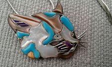 Lovely Unusual Silver Enamel/Abalone Cat Pendant Brooch L@@K
