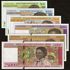 MADAGASCAR 500-25000 Francs SET 6 PCS 1994-1998 P-75 76 78 79 81 82 UNC