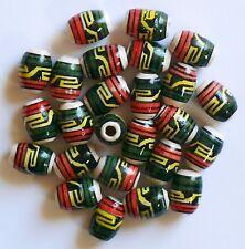 50 Keramik Perlen Peru 14 mm grün gelb rot Muster oval Rasta Schmuck basteln