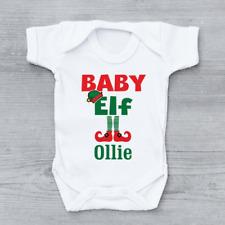 Personalizado Bebé DIBUJO DE DUENDE Y MOTIVOS NAVIDEÑOS Navidad Unisex Bebé crezca Body