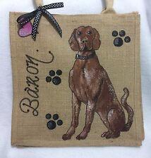 Personalised (Your Dog Westie Pug Etc) Handpainted Jute Handbag Hand Bag Gift
