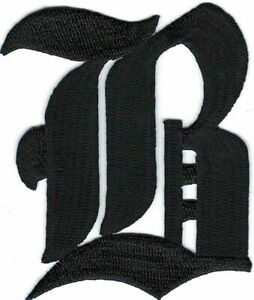 """3"""" Fancy Black Old English Alphabet Letter B Embroidered Patch"""