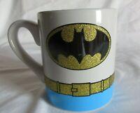 TM & DC Comics Coffee Mug Batman  Gold Glitter Belt Cup 14 oz  4' tall