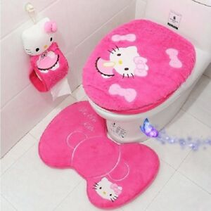 3PCS/4PCS WC Seat Cover Bath Mat Holder Bathroom Set Toilet Cover Pink Cute