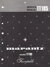 Marantz Service Manual Model TT185 Original turntable record player Repair Book
