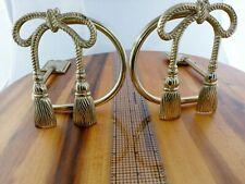 Vintage Brass Bow & Tassel Curtain Drape Tie Back Holders Hollywood Regency