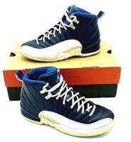 Nike Air Jordan XII Jumpman Retro Obsidian White Blue Shoes Boys Youth Size 6y