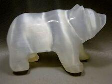 Bear White Selenite Mineral Healing Stone Glow Gemstone Animal Carving #1