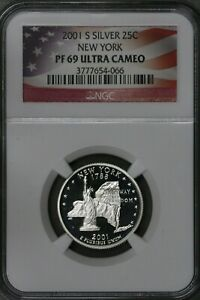 US 2001S Silver New York State Quarter NGC PF69 Ultra Cameo  S489