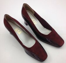 So Soft Shoes Womens 7M Burgundy Suede Patent Leather Square Toe