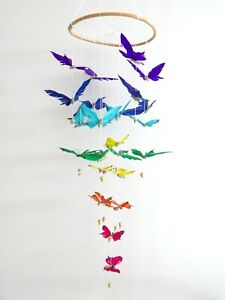 Amazing Multi Hand Painted Feather Butterfly Hanger XL Size Hand Made.....