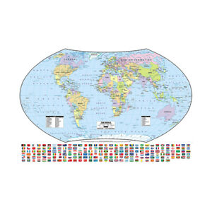 MAP OF THE WORLD WITH FLAGS HUGE POSTER WALL DECOR 36*24in