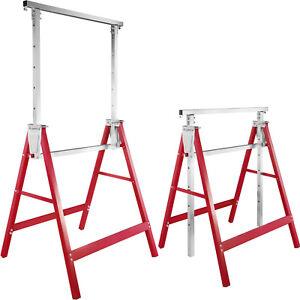 2x Cavalletto da lavoro telescopico altezza regolabile 81-130cm cavalletti rosso
