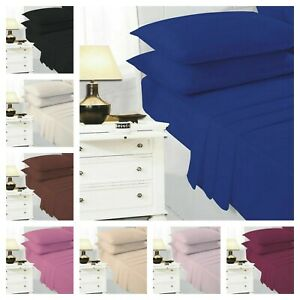 Percale Polycotton Complete Sheet Set 100% Poly Cotton (Flat + Fitted + Pillow)