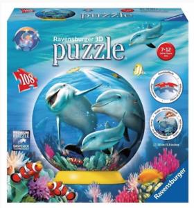 Ravensburger 108 PCS 3D Puzzle Ball Dolphin Underwater Fantasy Children's Globe