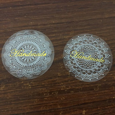 80x Gold Handmade lace labels, stickers, self adhesive, 2 designs 38mm diameter