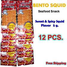 12 X 5g BENTO Squid Seafood Thai Snack Sweet Spicy Hot Low Fat Food Sport Party