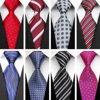 Grey Black Red Blue White Purple Wedding Stripe Plaid Necktie Silk Men's Tie New