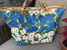 Dooney Bourke bag tote floral Blue/white flowers Pansy Shopper 12x 18.5 Rare