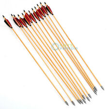 "12PCS Traditional Wood Arrows Turkey Feather 33"" Archery For Longbow Recurve"