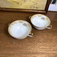 Vintage NORITAKE AURORA Fine China 98831 Footed Bouillon Cream Soup Bowls Cups 2