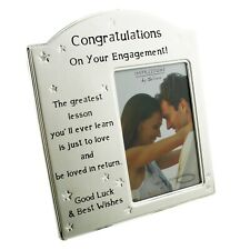 Engagment Photo Frame Gift With Verse To Fit Photo 6 x 4 Brushed Silver & Stars