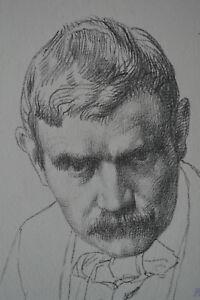 WILLIAM STRANG ORIGINAL SELF PORTRAIT ANTIQUE LITHOGRAPH T.R. WAY 1896 .