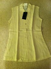 NWT Laura Ashley USA 4 Sleeveless Linen Blouse Button Front Ivory Top