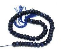 "Natural Corundum Blue Sapphire Gemstone 4-5mm Rondelle Faceted Beads 6"" Strand"