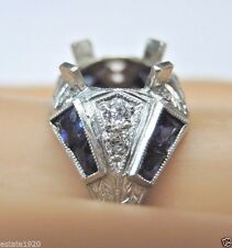 Antique Art Deco Vintage Ring Setting Mounting Platinum Engagement Hold 9-9.5MM
