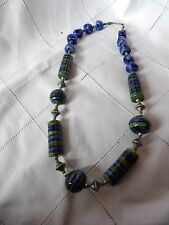 STATEMENT BLUE & GREEN HAND PAINTED & CRAFTED IN WILTSHIRE CERAMIC NECKLACE