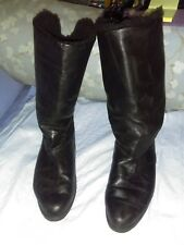 Black Leather Dressy Warm Water-resistant Winter Boots Womens 10